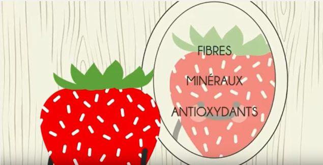 Un dessin de fraise qui se regarde dans le miroir