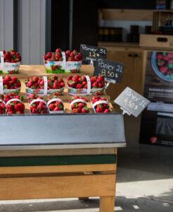 Étalage de fraises dans un kiosque
